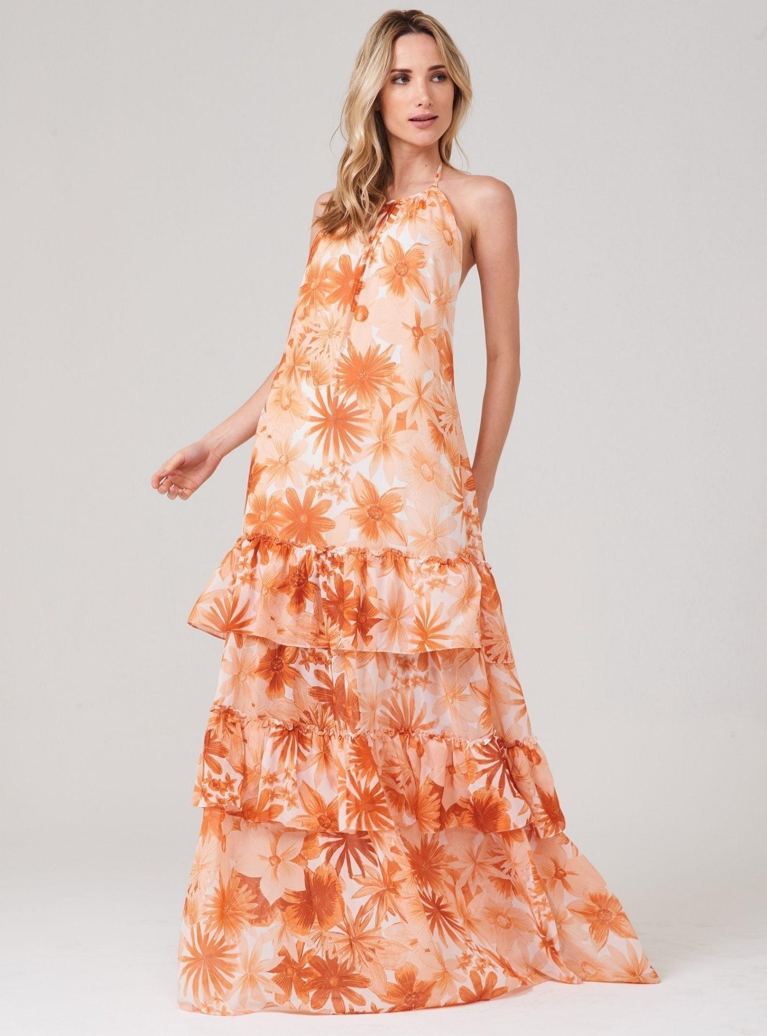Vestido Longo Double Chiffon Est Floral